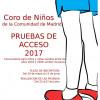 Pruebas de acceso Coro de Niños y Jóvenes de la Comunidad de Madrid