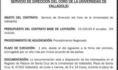 Convocatoria: Director del Coro de la Universidad de Valladolid