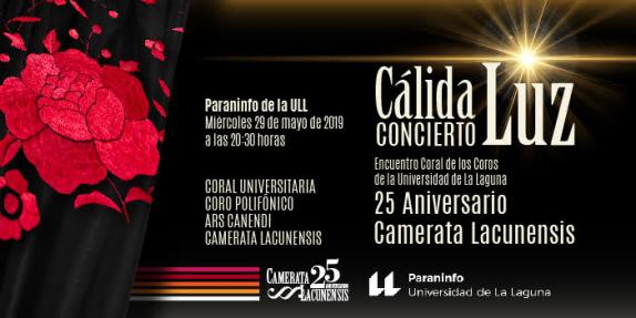 Encuentro Coral 25 Aniversario Camerata Lacunensis. Cartel de SusanaDíaz.